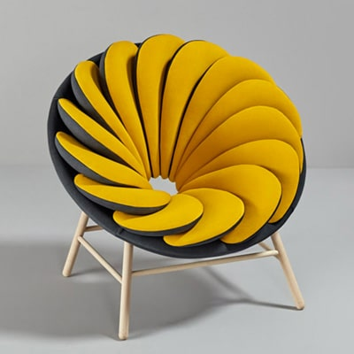 fauteuil-design-rond-jaune-noir